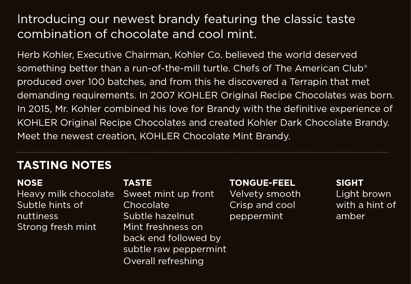 Introducing our newest brandy featuring the classic combination of chocolate and cool mint