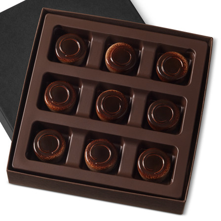 Smooth dark chocolate coffee ganache comes together with a layer of creamy mascarpone in a dark chocolate shell in a nine piece gift box.