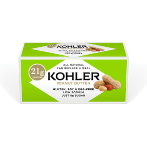 Featuring 21 grams of protein, new KOHLER Original Recipe Peanut Butter Protein Bars are made with all-natural and gluten-free ingredients including white chocolate and dry-roasted peanut butter. Enjoy them as a snack or meal replacement.
