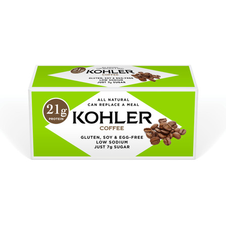 Featuring 21 grams of protein, new KOHLER Original Recipe Coffee Protein Bars are made with all-natural and gluten-free ingredients including dark chocolate and natural coffee flavor. Enjoy them as a snack or meal replacement.