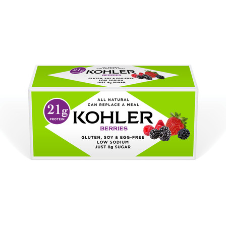 Featuring 21 grams of protein, new Kohler Original Recipe Berries Protein Bars are made with all-natural and gluten-free ingredients including white chocolate, raspberries, black raspberries and strawberries. Enjoy them as a snack or meal replacement.