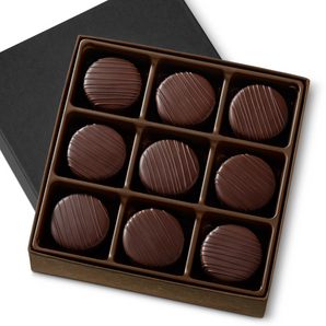 Smooth. Rich. Sugar free. Artfully crafted from 65% cacao imported from France, our Sugar Free Chocolates are the luxurious combination of artisan craftsmanship and unforgettable flavor. Velvety ganache, with hints of vanilla, is enrobed in rich chocolate and topped with a hand-crafted drizzle. It's hard to believe that sugar free can taste this good. Nine pieces