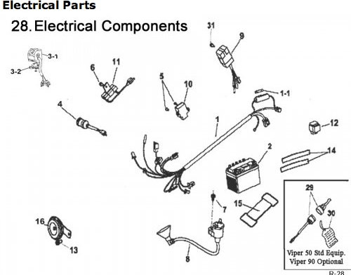 e ton 90 electrical rxl90 viper 90 _wire harness , switch  eton atv wiring diagram wiring diagram