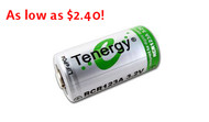Tenergy LiFePO4 RCR123A 3v (3.2v) Rechargeable Lithium-Ion Battery 750mAh