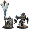 Cygnar Precursor Knights Standard Bearer+