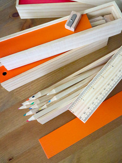 Wooden Colored Pencil Set with Slide Top Ruler Case by Xonex