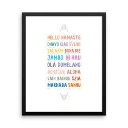 Hello Around the World Framed Poster