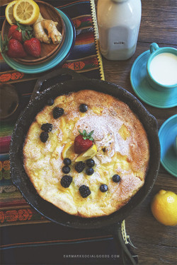 Lemon, Goat Cheese, Dutch Pancake with Ginger-Infused Syrup