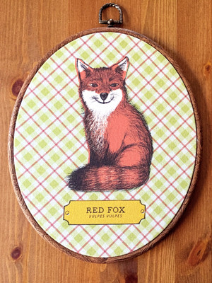 Fox Fabric Oval Art Print