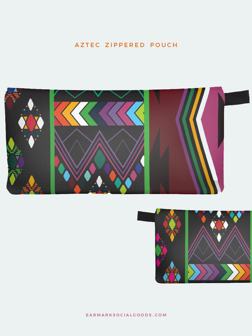 Aztec Black Twill Pencil Bag