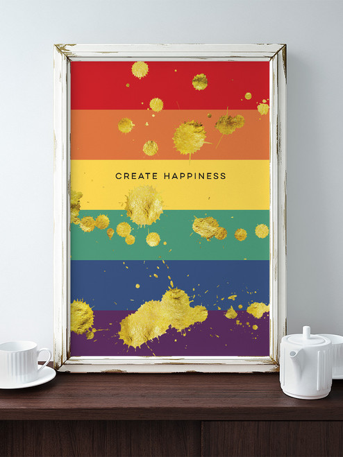 Create Happiness Splatter Rainbow Art Print