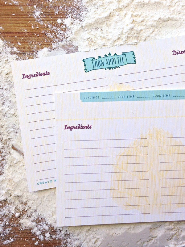 12 Artichoke Double-Sided Recipe Cards