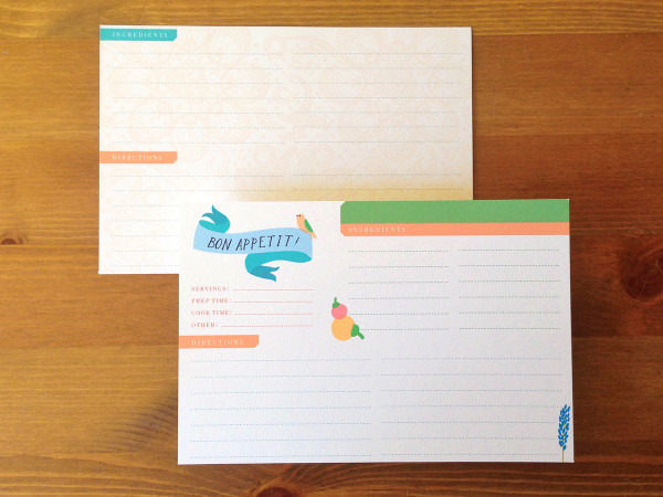 You will receive 12 of these super cute double-sided recipe cards, just waiting to be filled in with your very favorite recipes!