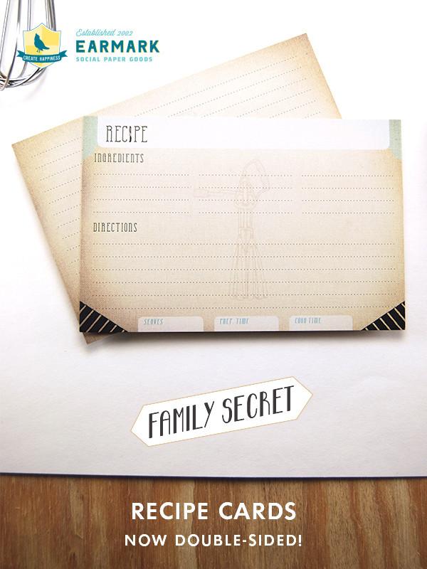 12 Family Secret Recipe Cards