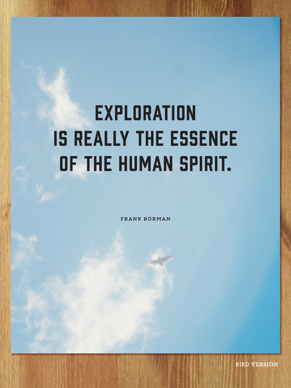 Exploration is really the essence of the human spirit. - Frank Borman / Colorado Bird Version