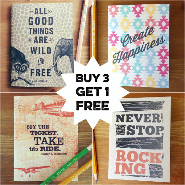 4 Notebooks $15 - choose your favorite designs.