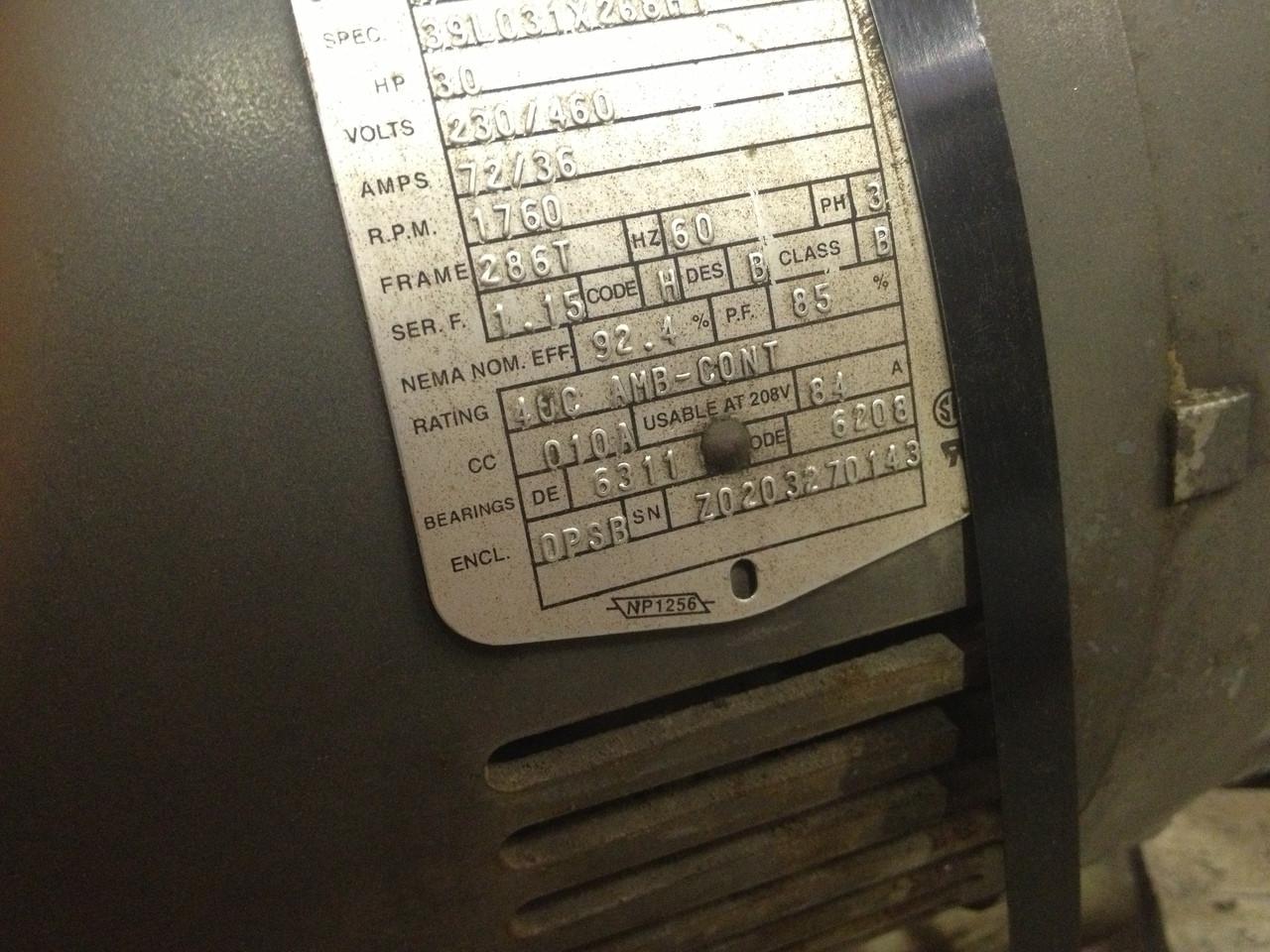 Baldor Used AC Motor ~ 30 HP ~ 1760 RPM ~ Cat No  M2535T ~ 230/460V ~ 286T  Frame