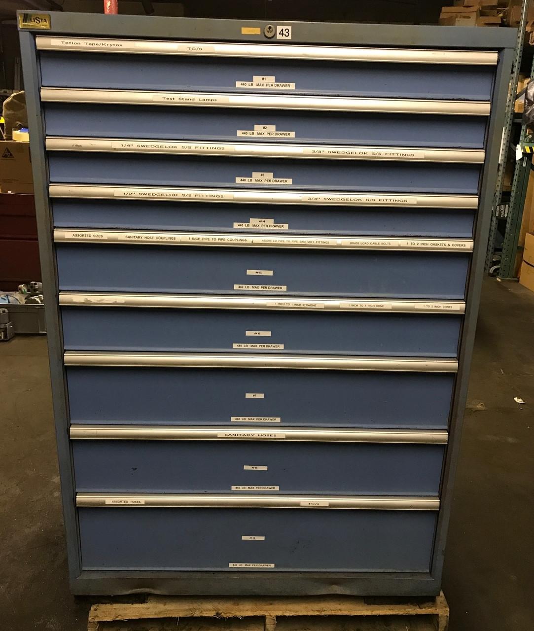 Used Lista 9 Drawer Storage Cabinet 40 1 4 Wide X 22 1 2 Deep X 59 1 2 High