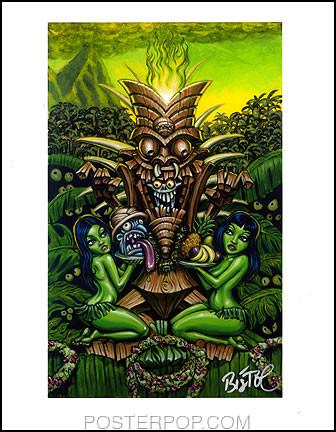 BigToe Zombie Tiki Hand Signed Artist Print  8-1/2 x 11