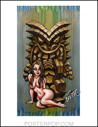 BigToe Lusty Tiki Hand Signed Artist Print  8-1/2 x 11