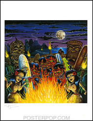 Dirty Donny Ritual On the Beach Hand Signed Artist Print  8-1/2 x 11