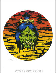 Dirty Donny Shrunken Head Hand Signed Artist Print  8-1/2 x 11