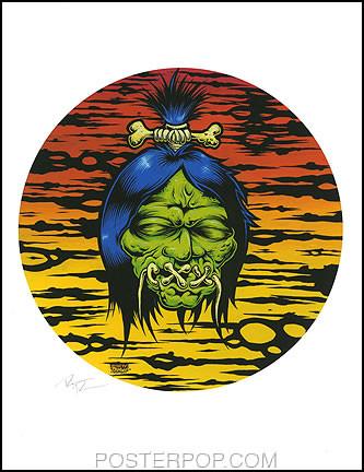 Dirty Donny Shrunken Head Hand Signed Artist Print  8-1/2 x 11