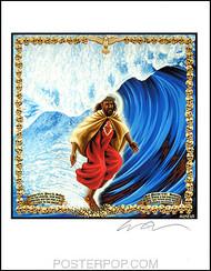 Almera Surfin Jesus Hand Signed Artist Print  8-1/2 x 11 Image