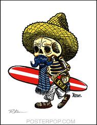 Rob Kruse Borracho Surf Hand Signed Artist Print  8-1/2 x 11 Image