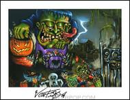Von Franco HAMB Halloween Hand Signed Artist Print  8-1/2 x 11 Image