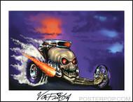 Von Franco Skull Dragster Hand Signed Artist Print  8-1/2 x 11 Image