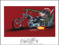 Von Franco Monster Biker Hand Signed Artist Print  8-1/2 x 11 Image
