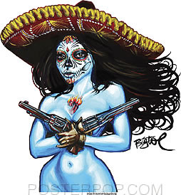 Artist BigToe Chica Termino Car Sticker Decal by Poster Pop. Mexican Day of the Dead Sexy Topless Blue Girl with Sombrero and Dual Pistols, Sacred Heart, and Muertos Sugar Skull Face Paint