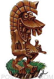 BigToe Haole Shaka Tiki Sticker
