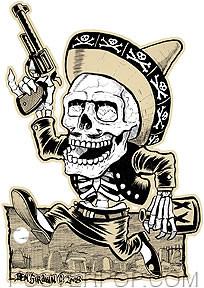 Artist Ben Von Strawn Muertos Car Sticker decal by Poster Pop. Mexican Day of the Dead Drinking Drunk Skeleton with Sombrero, Pistol and Bottle running through a Grave Yard.