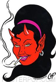 Coop Smokin' Devil Girl Sticker Image