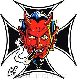 Coop Iron Cross Devil Sticker Image
