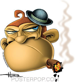 Doug Horne Grumpy Monkey Sticker Image