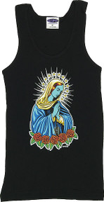 Almera Blue Mary Woman's Ribbed Boy Beater Tank Image