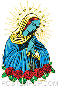 Artist Marco Almera Blue Mary Car Sticker Decal by Poster Pop. Holy Religious Mary Mother of Jesus Praying with Roses, Rosary and Halo