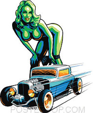 Almera Hot Rod Girl Sticker Image