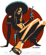 Artist Marco Almera Chica Peligrosa Car Sticker Decal by Poster Pop. Sexy Bikini Girl in a Mexican Sombrero with Pistol and High Heels.