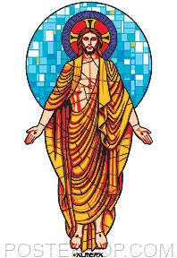 Almera Stained Glass Jesus Sticker Image