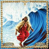 Almera Surfing Jesus Sticker Image