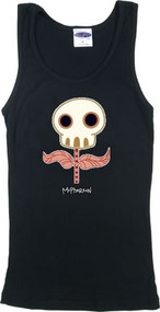 Tara McPherson Sugar Skull Flower Woman's RIBBED BOY BEATER Tank Top