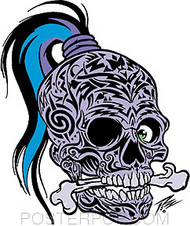 Pizz Tattooed Skull Sticker Image