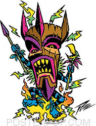 Pizz Mad Tiki Sticker Image