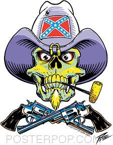 Pizz Rebel Skull Sticker Image