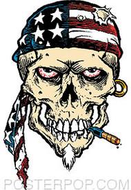 Pizz American Skull Sticker Image