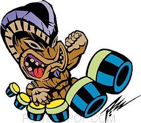 Pizz Tiki Drummer Stickers Image
